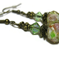 Green Champagne and Pink Flower Earrings Antiqued Gold Drop Dangle Retro Style Womens Spring Floral Jewelry Made with Swarovski Crystals