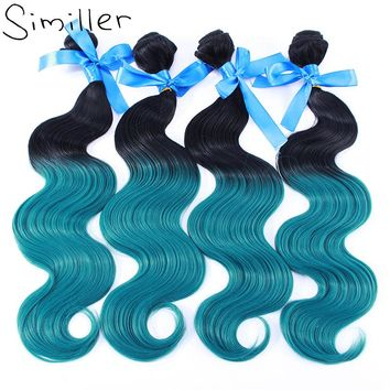 """Similler High Temperature Fiber Synthetic Hair Weft Weaving Body Wave 1 Bundle 100g Ombre Color 16"""" 18"""" 20"""" 22"""" 24"""""""