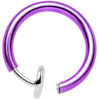 3/8? Purple Titanium IP Spring Loaded Fake Body Jewelry Hoop | Body Candy Body Jewelry