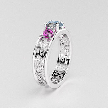 Pink and white sapphire filigree tirnity engagement ring, trinity, white gold, pink ring, sapphire solitaire, unique engagement ring, custom