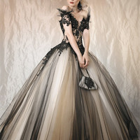 Evening Dress robe soiree Ball Gown Appliques Lace V Neck Tulle Formal Elegantes Gowns vestidos vestido de festa Dresses