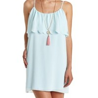 Scalloped Flounce Chiffon Shift Dress by Charlotte Russe - Blue