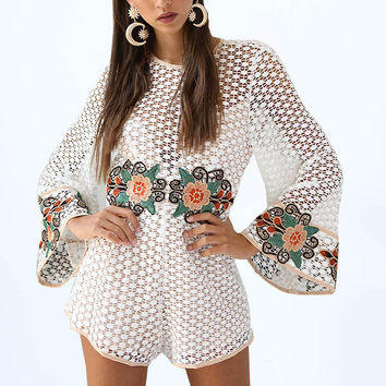 Women's White Crochet and Lace Bell Sleeve Floral Embroidered Romper