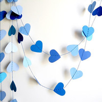 Blue hearts paper garland, blue ombre garland party decoration, kids room decor , blue nursery decoration