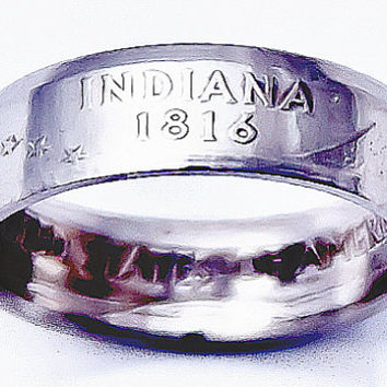 State of INDIANA Quarter Coin Ring for Men, Women & Youth in sizes 5, 6, 7, 8, 9, 10