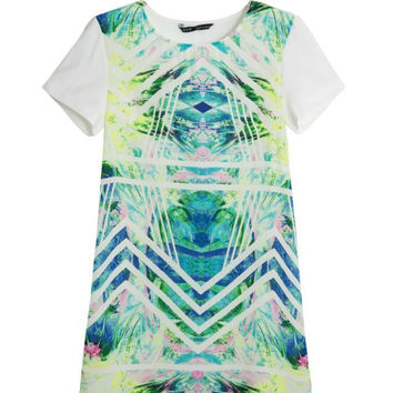 Summer Women's Fashion Print Stripes Mosaic Short Sleeve Round-neck One Piece Dress [4917840580]