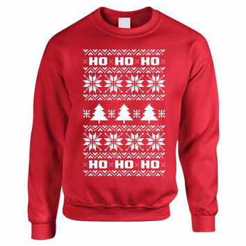 HO HO HO Women's Crewneck Sweatshirt Ugly Christmas Sweater