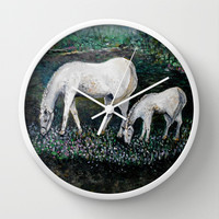 Dappled Mare with Dappled Foal Wall Clock by  RokinRonda