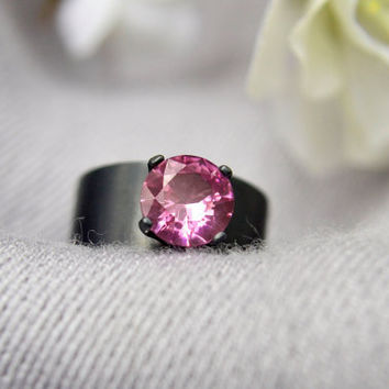 Silver Ring with Pink Tourmaline, Wide Band Statement Ring in Pink Tourmaline and Sterling Silver