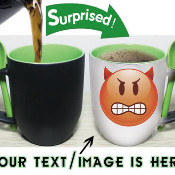 Color changing mugs green color inside-with spoon-personalized mugs-custom mugs-photo mugs-ceramic mugs-funny cute coffee mugs-best gift