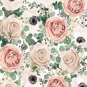 FLORAL IVORY AND PINK ROSES TITANIUM CLOTH BACKDROP - 5x6 - LCTC6930 - LAST CALL
