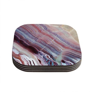 "KESS Original ""Sunrise Agate"" Pink Purple Coasters (Set of 4)"