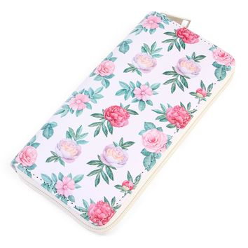 Floral Print Single Zipper Wallet
