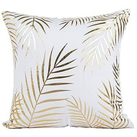 Bronzing Flannelette, Jinbeile Gold Stamping Leaves 18x18 Inch Throw Pillow Case Cover Decorative Home Sofa Pillowcase Cushion