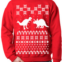 New Ugly Sweater Dinosaur Flex Fleece Pullover Classic Sweatshirt - XS S M L XL and XXL (3 Color Options)