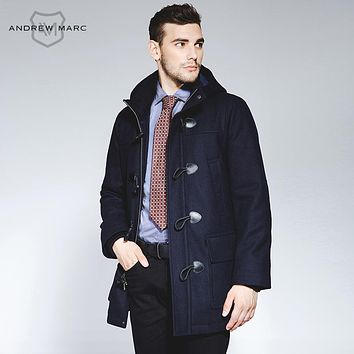 Men's Woolen Blends Jacket Trench Street Fashion Overcoat Windbreaker Trench