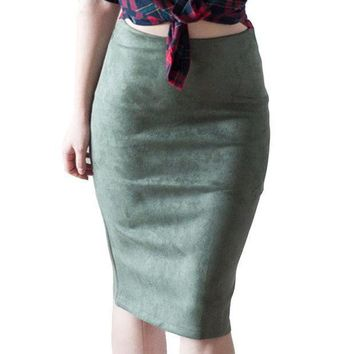 CREYLD1 Fashion Empire Skirts 2018 Spring Faux Suede Pencil Skirt High Waist Bodycon Split Thick Stretchy Skirts