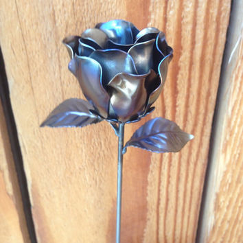 Large hand made steel rose