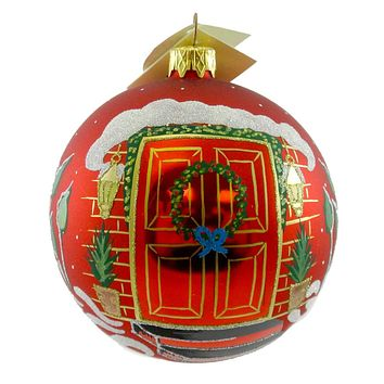 Holiday Ornament FIRST CHRISTMAS RED DOOR Blown Glass New Home V10003