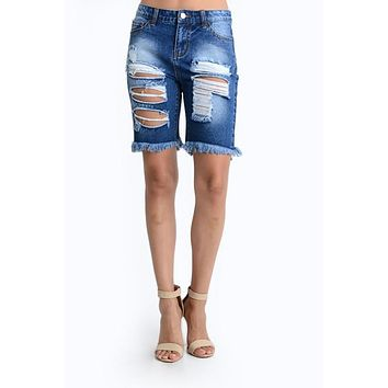 Women's Destroyed Denim Bermuda Shorts