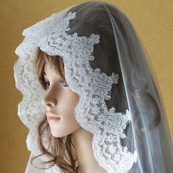 Cathedral Length Eyelash Lace Edge Mantilla Bridal Wedding Veil VG1001