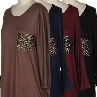 Maroon- sequin pocket long tunic