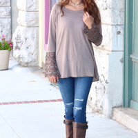 Lace Belles Long Sleeve Acid Wash Top {Mocha}