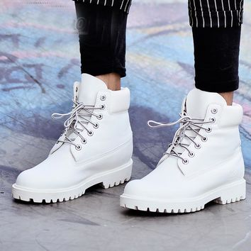 2018 Fashion Autumn Winter Leather Men Boots Black Casual White Shoes Platform Rubber Mid-calf Mens Work Boots Plus Size 39-45