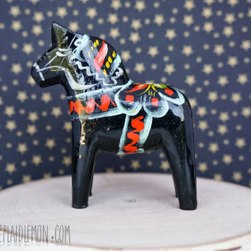 Vintage Dala Horse Nils G A Olsson Black Wooden Swedish Folk Art Sweden Rustic Wood Home Decor Dalahemslojd Painted Bold Carved Mid-century