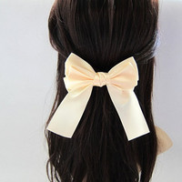 Big Classic Light Yellow Hair Bow Clip Barrette - 4.7 inches/12cm - made with 1.5 inches/3.8cm Satin Ribbon