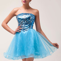 Off Shoulder Sequined Homecoming Dress