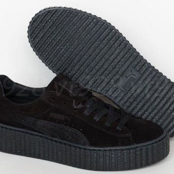 ICIKYE NEW PUMA FENTY RIHANNA CREEPERS SUEDE BLACK LEATHER WOMEN'S SHOES ALL SIZES