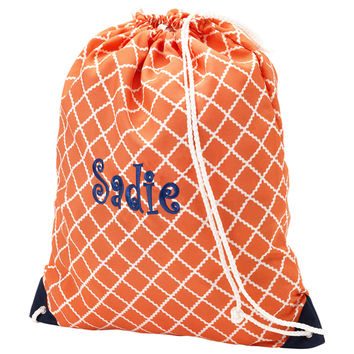 Personalized Coral Academy Drawstring Backpack by Cordial Lee