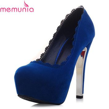 MEMUNIA big size 34-42 sexy round toe platform shoes thick high heels wedding shoes bride spring autumn solid women pumps