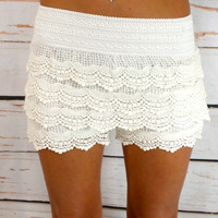 Lace Shorts: White