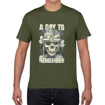 A Day To Remember Army Skull Adult T Shirt Printed