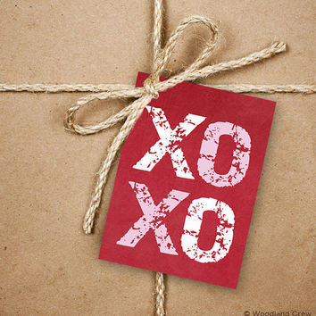 9 XOXO Gift Tags, Valentine's Day 2.5 x 3.5 Hang Tag, Pink and White On Red Product Tag With Jute Twine, Hugs and Kisses Gift Tags