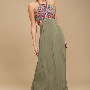 Little Beach Olive Green Embroidered Maxi Dress
