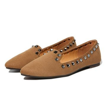 Rivets Suede Pointed Toe Flat Casual Loafers