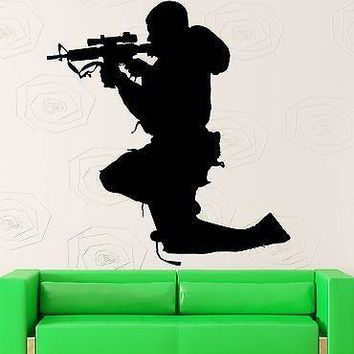 Wall Sticker Vinyl Decal Soldier Sniper Military Army Decor Rifle Gun  Unique Gift (z1034)