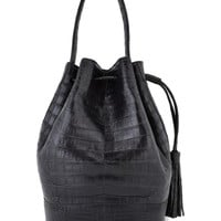 Nancy Gonzalez Brown Croc Bucket Bag
