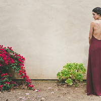 "Wine Bridemaid Dress Halter Bridesmaid Dress Low Back Dress Burgandy Bridesmaid Dress- ""Freha"" Gown"