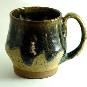 Rustic Country Style Coffee Mug \ Tea Cup Large Handled 8 Ounce oz pottery, Yellow earth tone and Ash gray,  Wheel Thrown Pottery stoneware