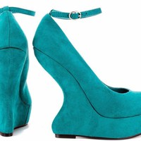 Luichiny Emerald Green Heel Less Wedge Pump Style Shoe Size 7