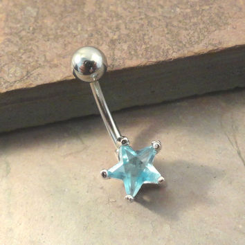 Light Blue Star Belly Button Jewelry Ring