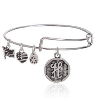 "Alex and Ani style  letter ""H"" pattern pendant charm bracelet,a perfect gift !"