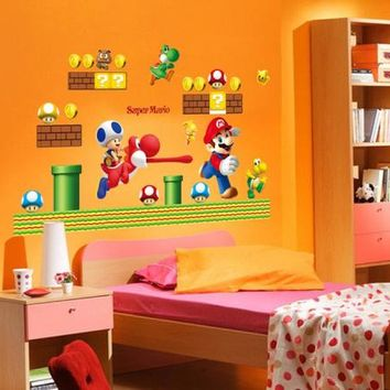 Timelive new 2016 brand Giant Super Mario Wall Sticker Cartoon for kids rooms PVC Decals Art Vinyl Child Nursery Home Decor