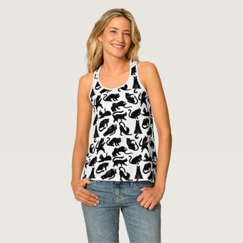 Vintage Whimsical Cat Pattern Tank Top