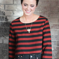 Zipper Back Stripe Crop