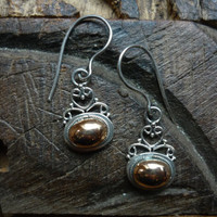 Sterling silver and rose gold earrings by Ellishshop on Etsy